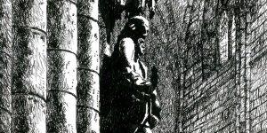rysunek piórem katedra Freiburg