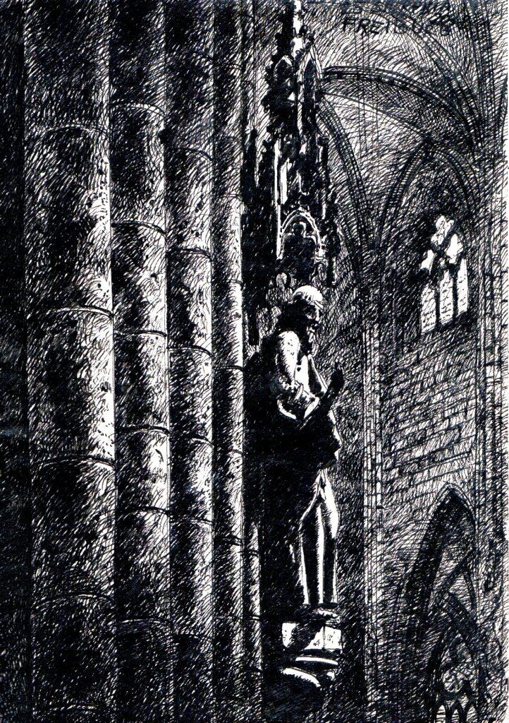 Rysunek plenerowy wnętrze katedry