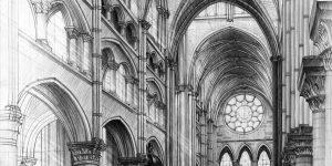 rysunek katedry gotyckiej ołówkiem
