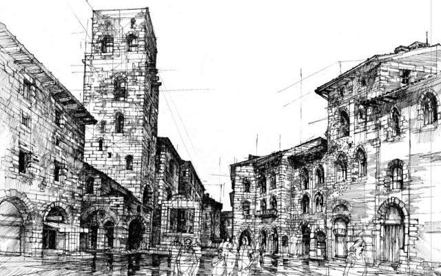 rysunek plenerowy San Gimignano