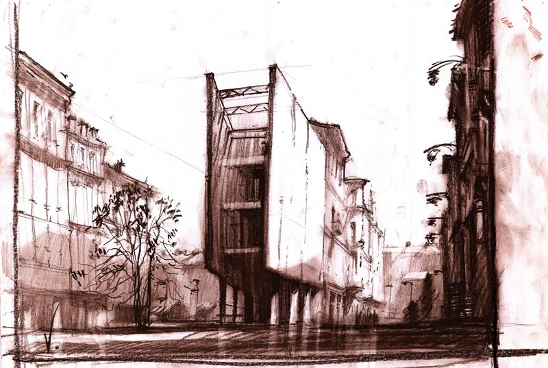 rysunek architektoniczny sangwiną