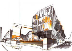 kurs na architekture rysunek flamastrami