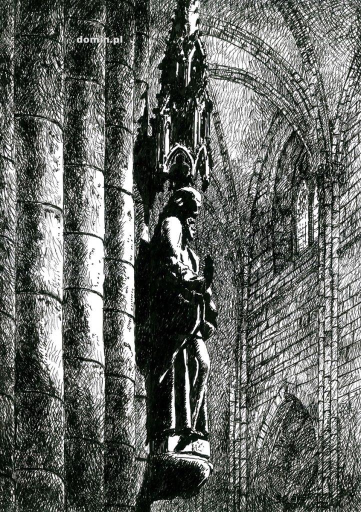 rysunek wnętrza katedry gotyckiej