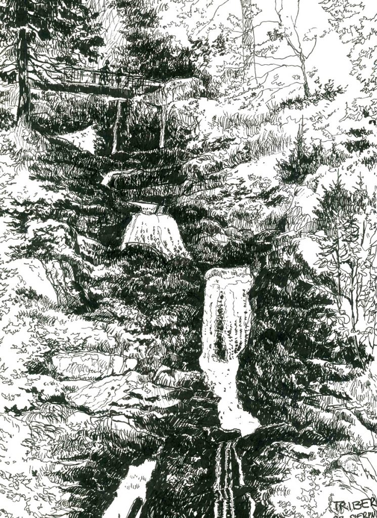 rysunek wodospadu triberg