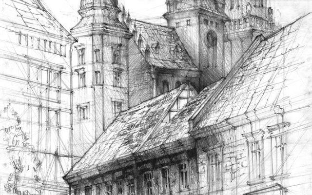 rysunek architektury wawel