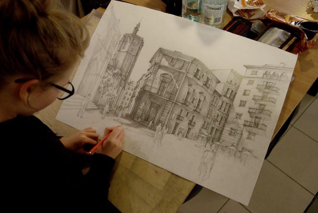 rysowanie architektury ołówkiem