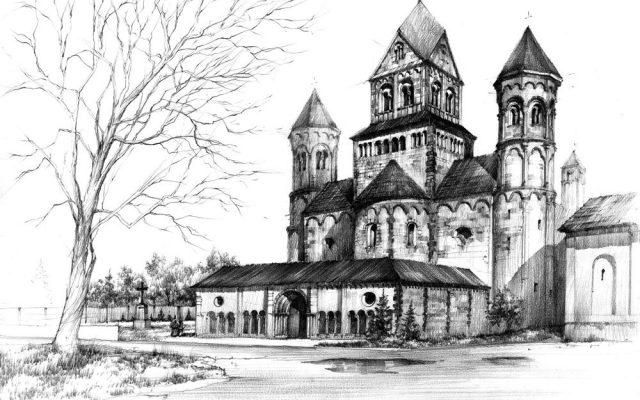 rysowanie architektury romanskiej
