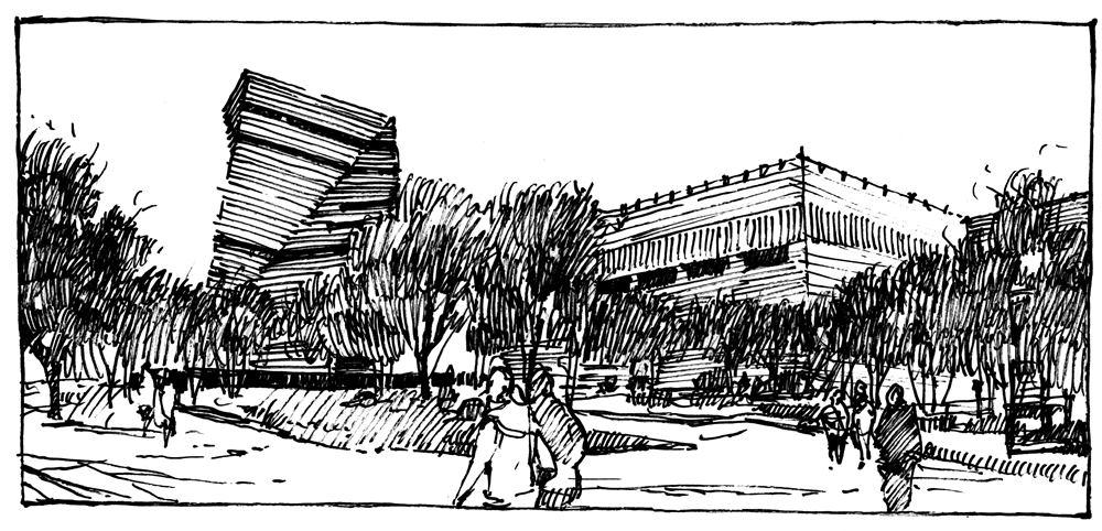szkic urbanistyczny cienkopisem