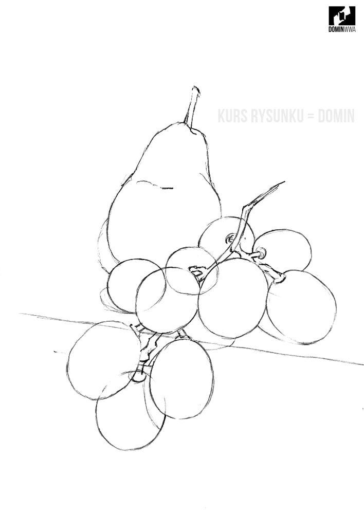 nauka rysunku ołówkiem owoce