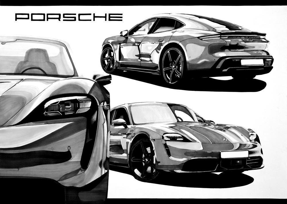 Rysunek samochodu flamastrami Porsche Michał Kubicki
