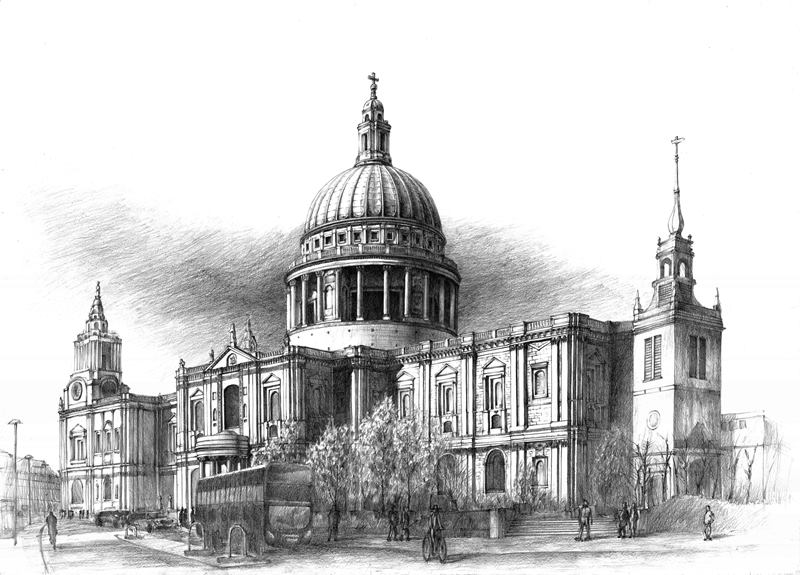 Saint Paul`s Cathedral drawing pencil