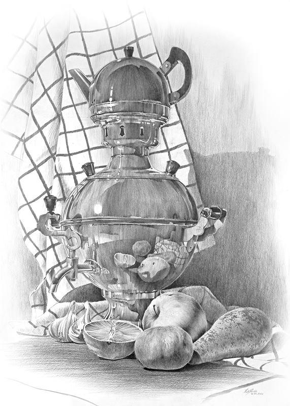 martwa natura - rysunek trymestralny